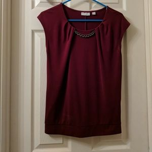 Deep red short sleeve blouse